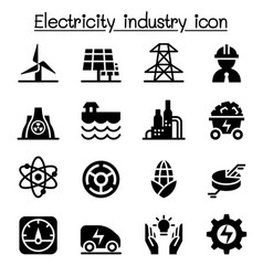 Electricity industry icon set vector