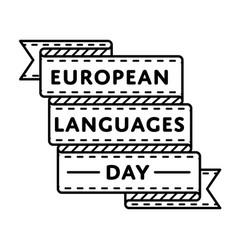 european languages day greeting emblem vector image