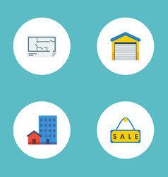 Flat icons sold buildings depot and other vector