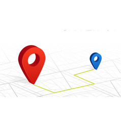 Gps navigator pin checking point to point red vector