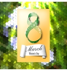 Greeting card for 8 March with banner and symbol vector image