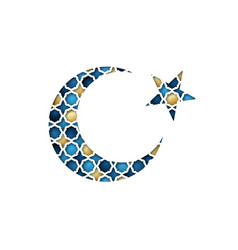 greeting card on ramadan kareem colorful crescent vector image