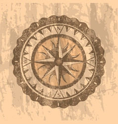 Grunge gray background with compass rose vector