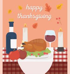 Happy thanksgiving baked turkey apples wine vector