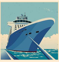 Huge cruise ship at pier retro poster vector