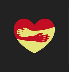 human hugs in heart shape hugging hands support vector image