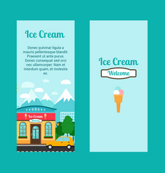 Ice cream flyers with shop building vector