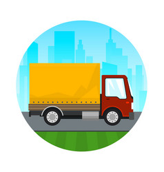 Icon red orange cargo delivery truck vector