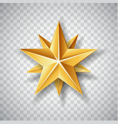 Isolated gold paper christmas star on transparent vector
