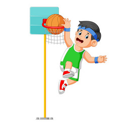 jumping for make score in basket ball vector image