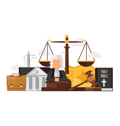 Law and justice set isolated on white flat vector