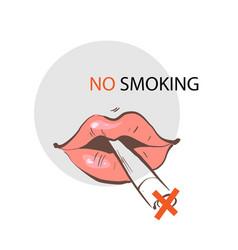 Lips with cigarette no smoking sign slogan vector