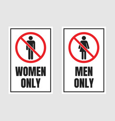 men only and women only signs no men and no women vector image