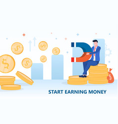 Money magnet concept with man on pile vector