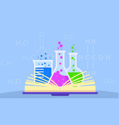 open chemistry book concept background flat style vector image