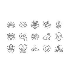 Organic cosmetics line icons slow fashion vector
