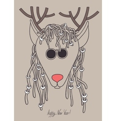 original hipster christmas deer with sunglasses vector image