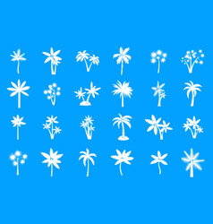palm tree icon blue set vector image