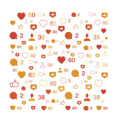 Pattern with social icons comments and likes vector