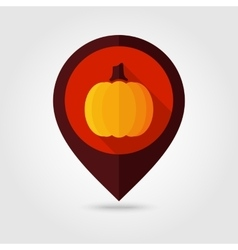 Pumpkin flat mapping pin icon vector image