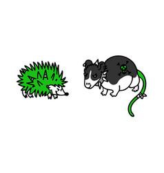 Punk rock hedgehog and rat vector