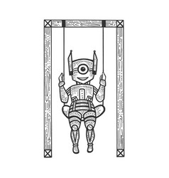 Robot child play on swing sketch engraving vector