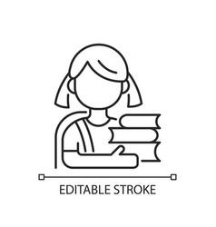 Schoolgirl linear icon vector