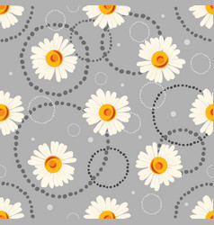 seamless chamomile pattern on gray background vector image