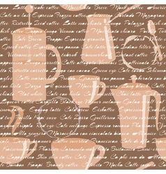 Seamless pattern with coffee types text vector image