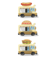 set drawing food truck vector image