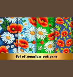 set floral seamless patterns with poppies and vector image