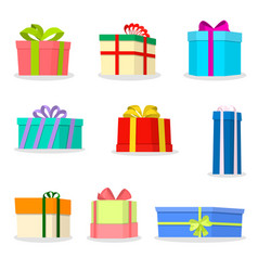 set large colorful boxes with beautiful colored vector image