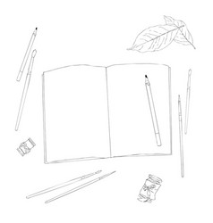 set of creative working tools notebook pen vector image