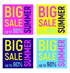 set of four big sale banners geometric memphis vector image