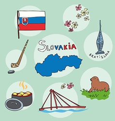 set of national profile of the slovakia vector image vector image