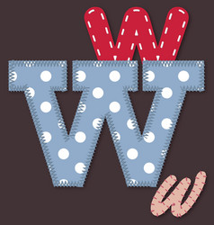 Set of stitched font - Letter W vector image