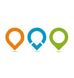 set of three original map pointers - navigation vector image
