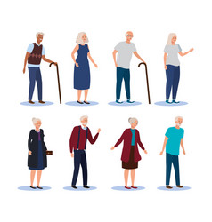Set old women and men with fashion clothes and vector