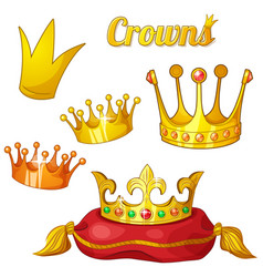 set royal gold crowns isolated on white vector image