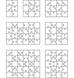 seven different white puzzles vector image