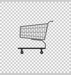 shopping cart icon on transparent background vector image