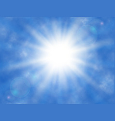 sky background with clouds shining sun sun rays vector image