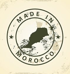Stamp with map of morocco vector