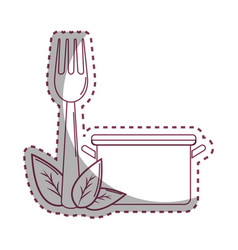 sticker pot kitchen with fork tool and leaves vector image