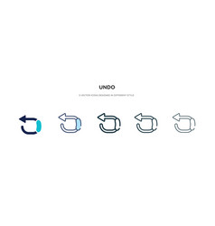 Undo icon in different style two colored and vector