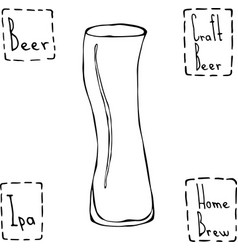 Unusual modern curve beer glass hand drawn vector