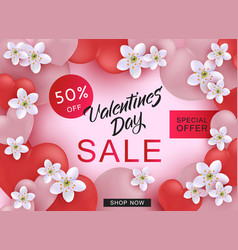 valentine day sale web banner with pink and red vector image