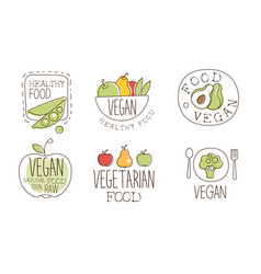 vegan healthy food labels set natural vegetarian vector image