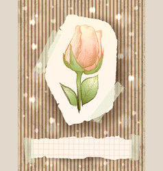 vintage card with rose vector image
