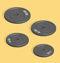 Weight plate for barbell in 3d vector
